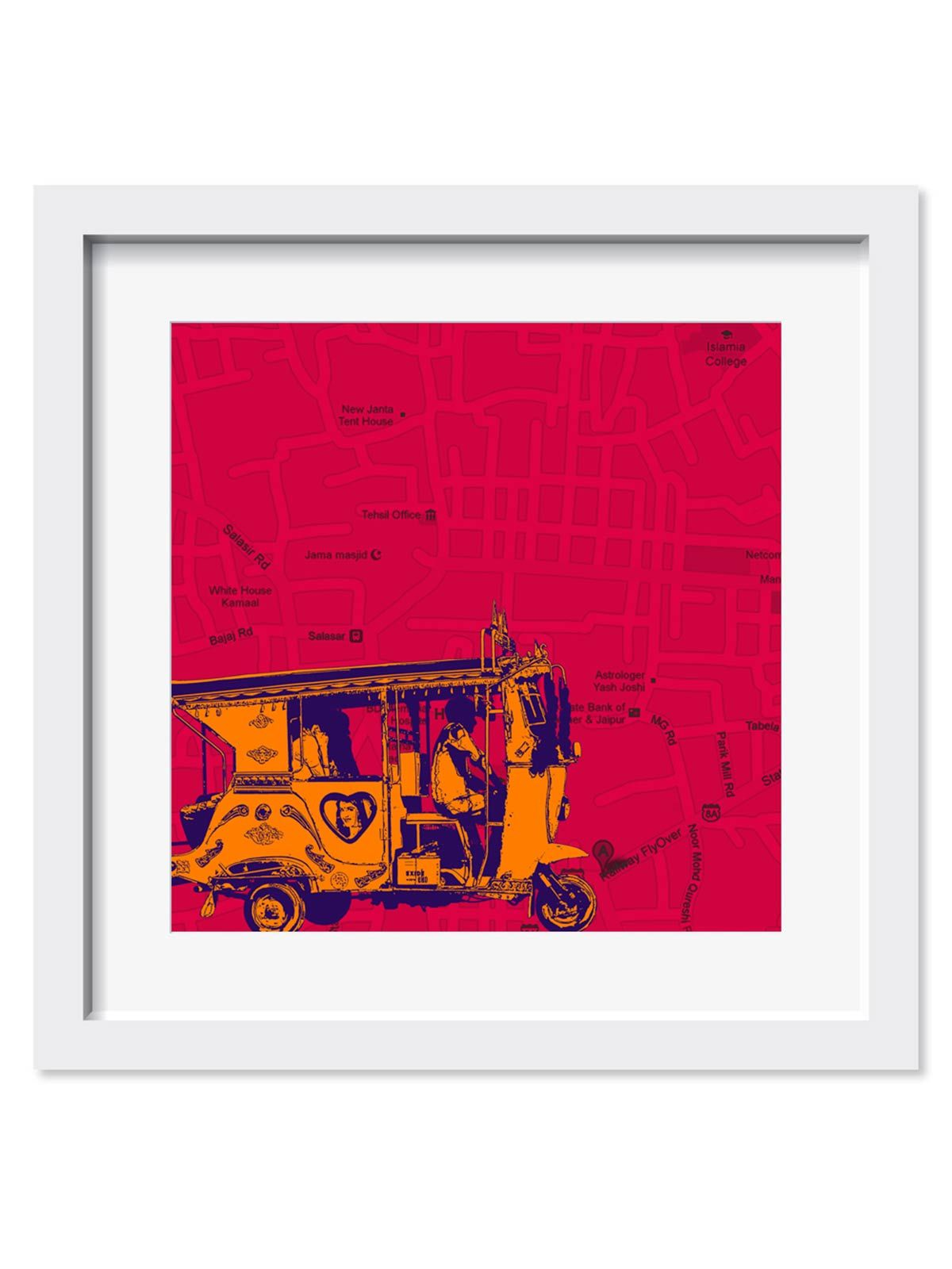 Orange Taxi on Road Art Print - 18X18 Inches