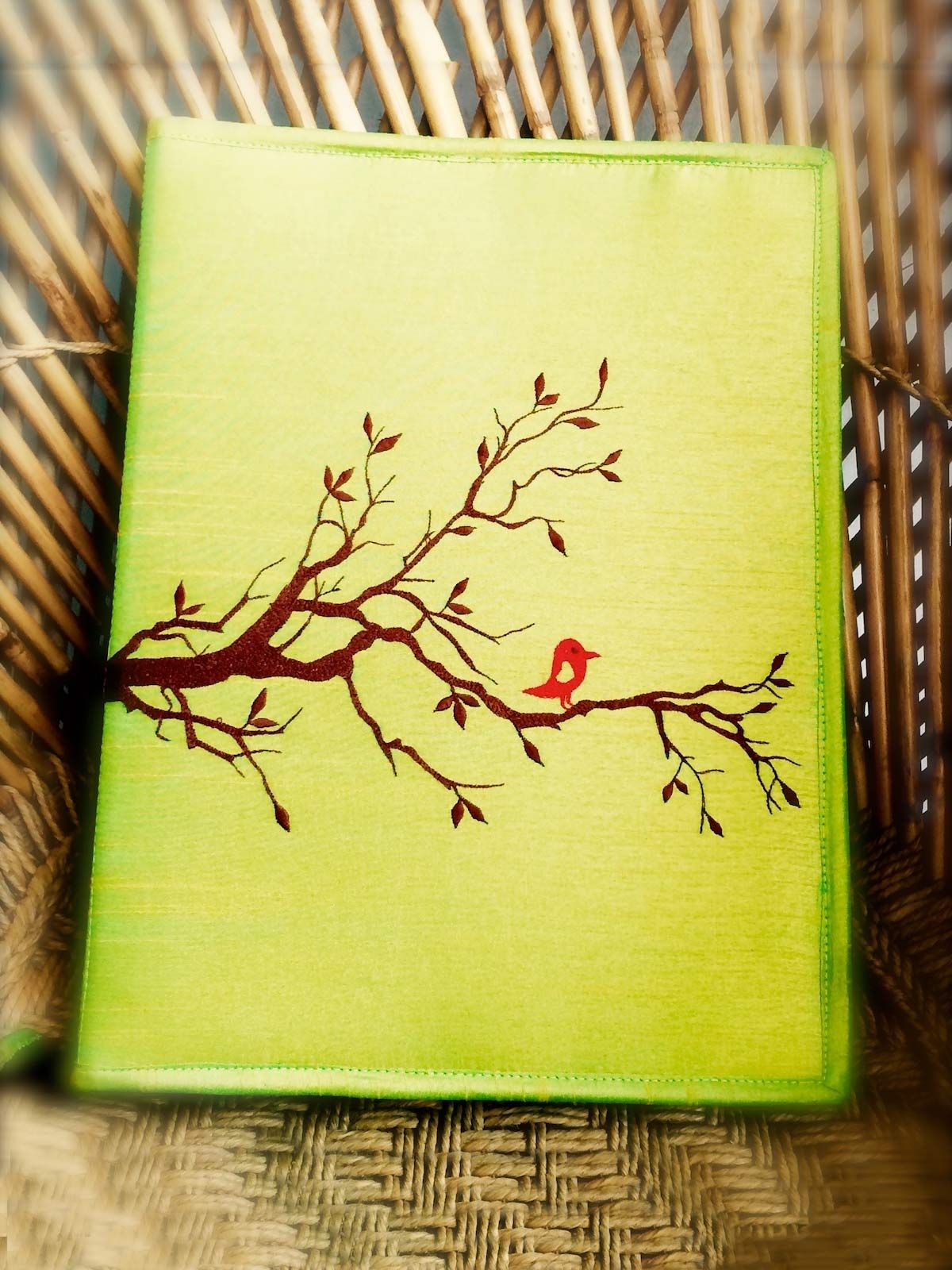 Green Tree Dupion Silk Folder