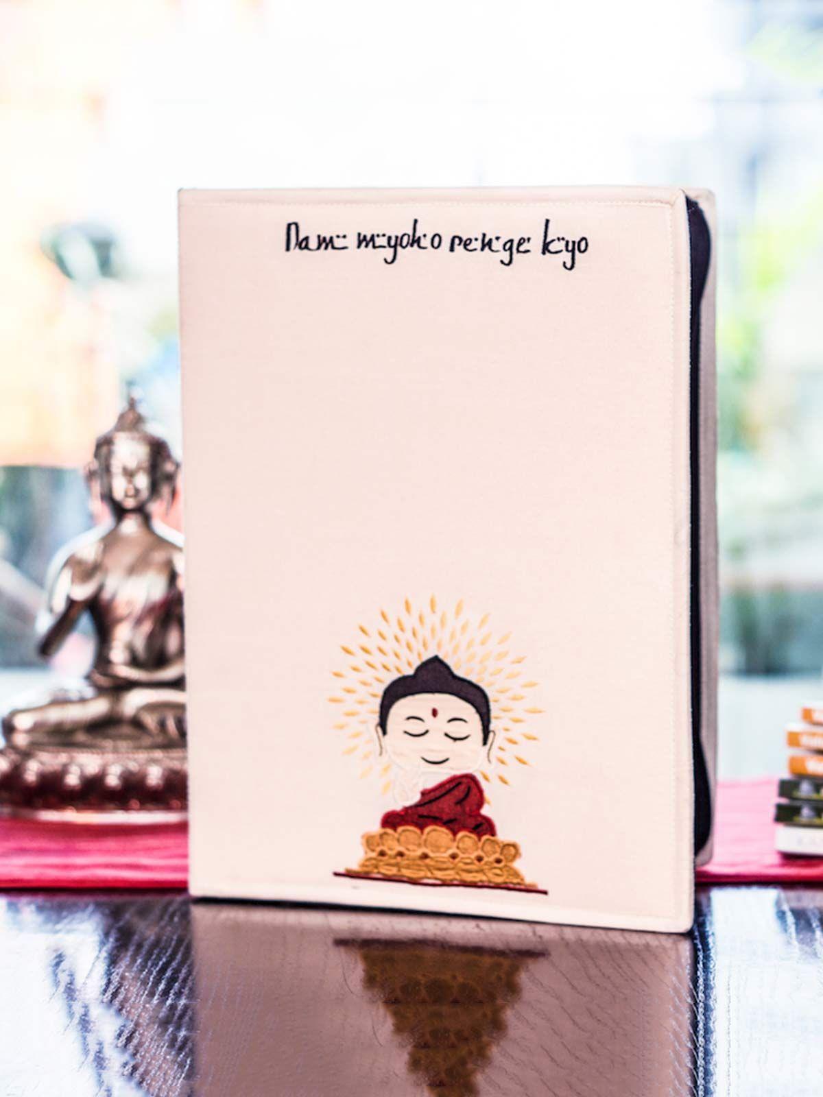 White Buddha Dupion Silk Folder