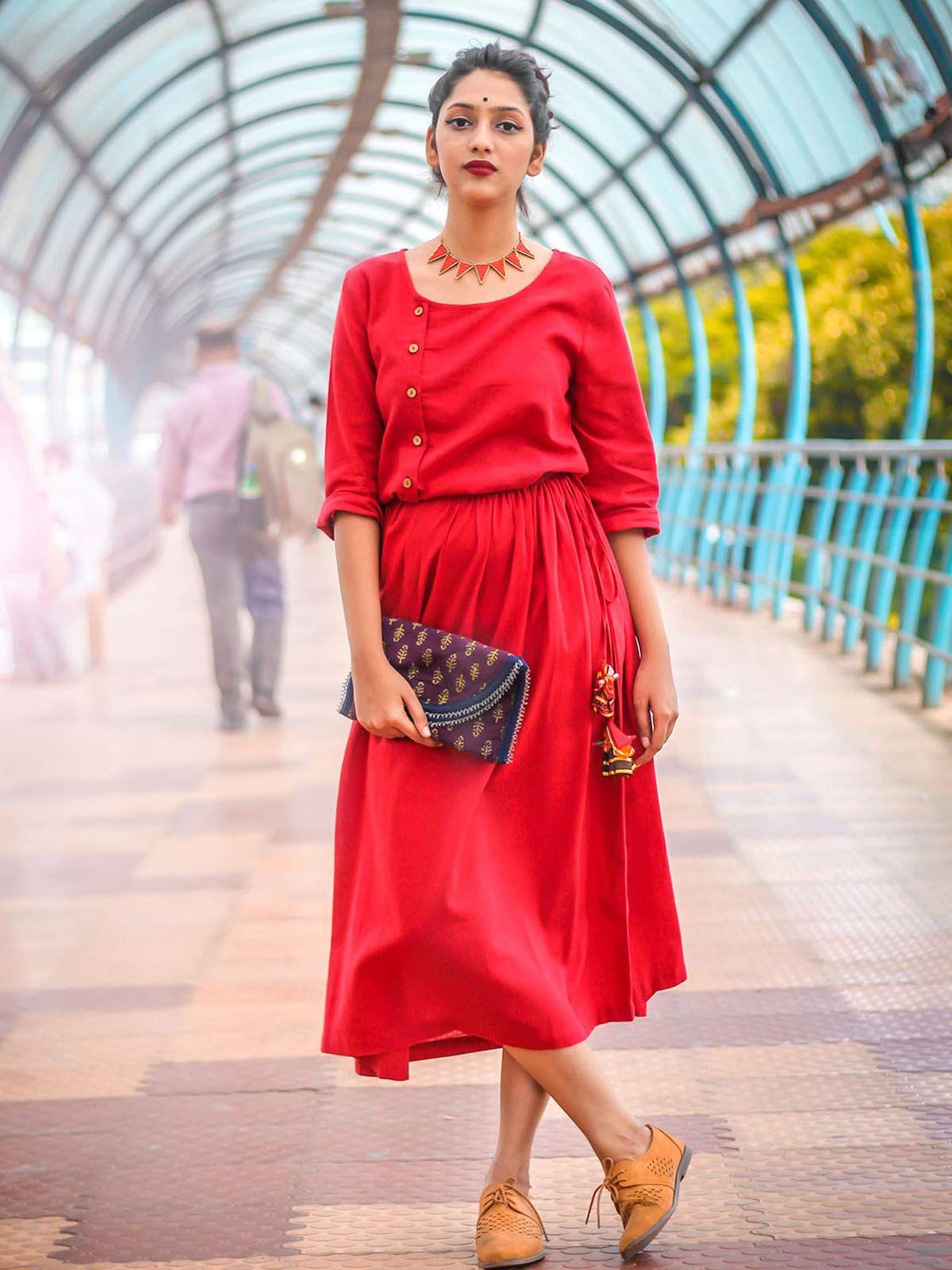 Red Cotton Vintage Dress