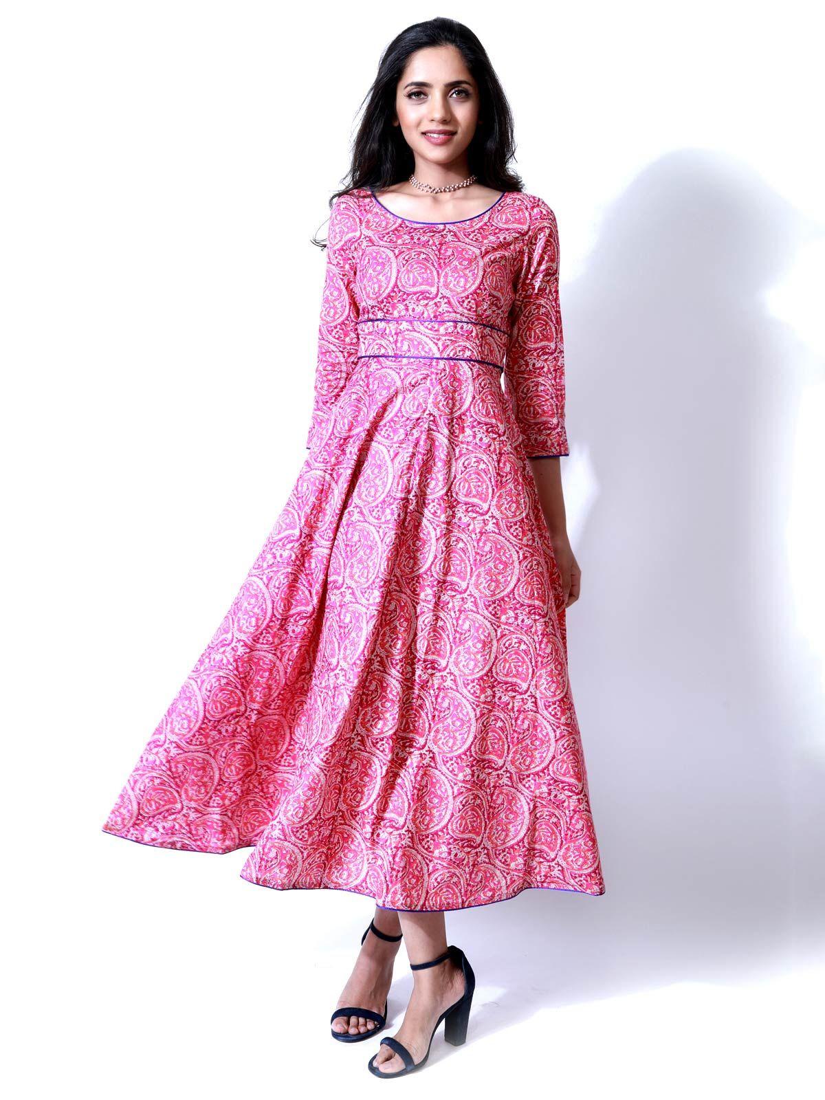 Pink Paisley Maxi Dress