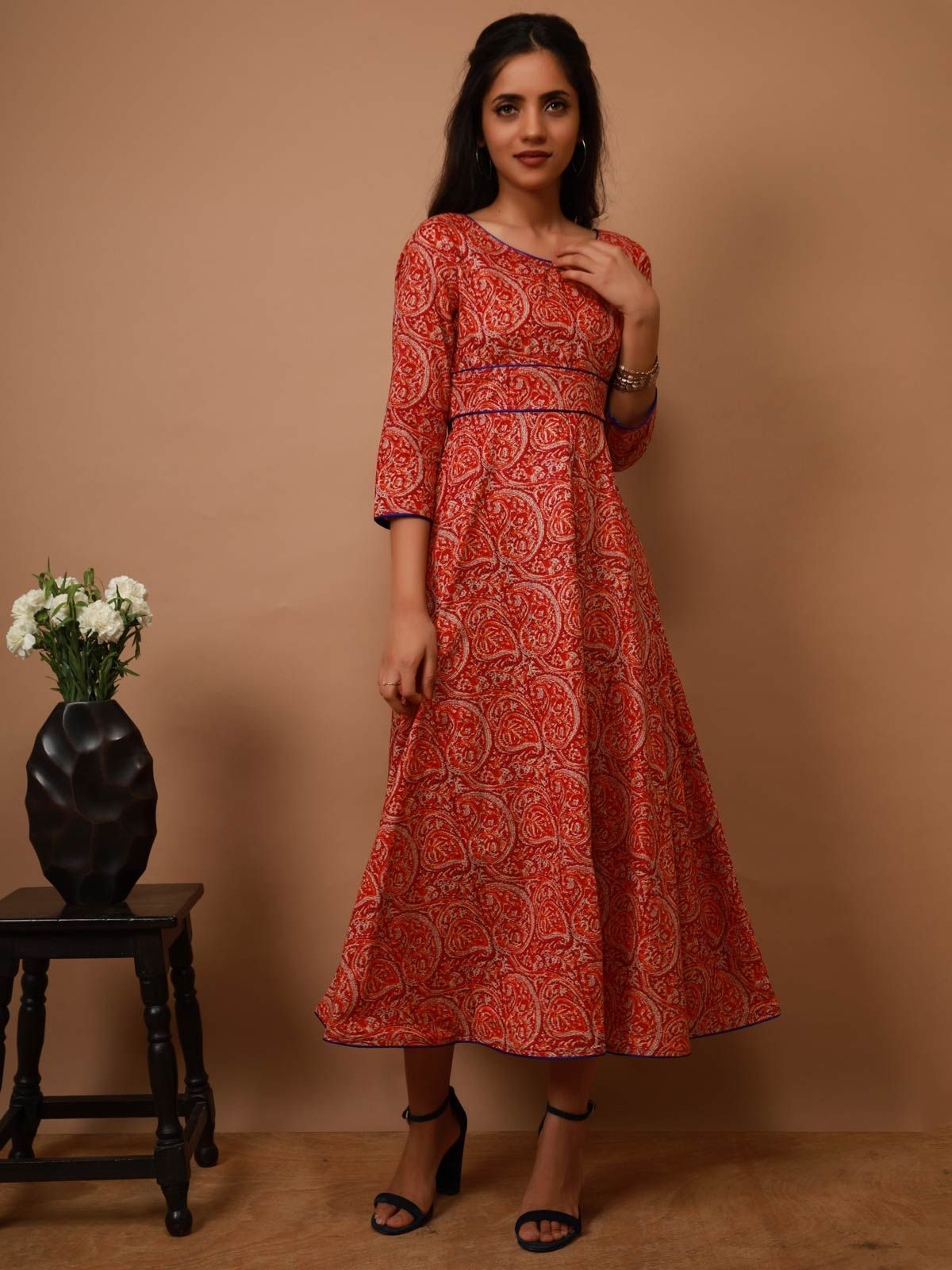 Red Paisley Maxi Dress