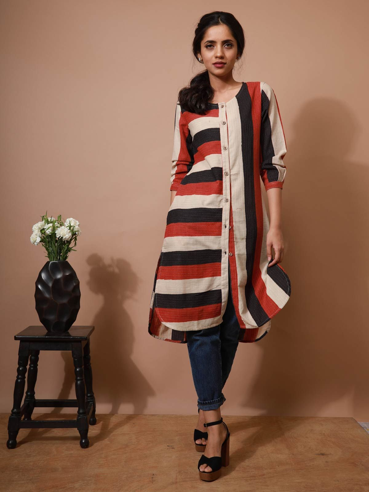 Embroidered Block Print Tunic With Pockets