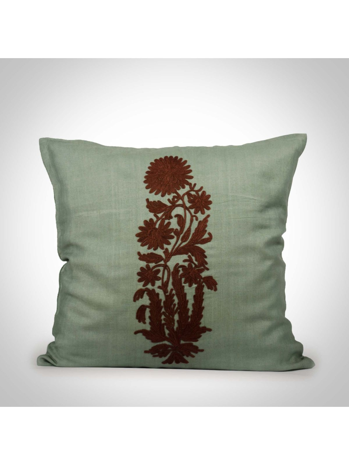 Sea green Cotton Silk Cushion Cover - 16x16Inch
