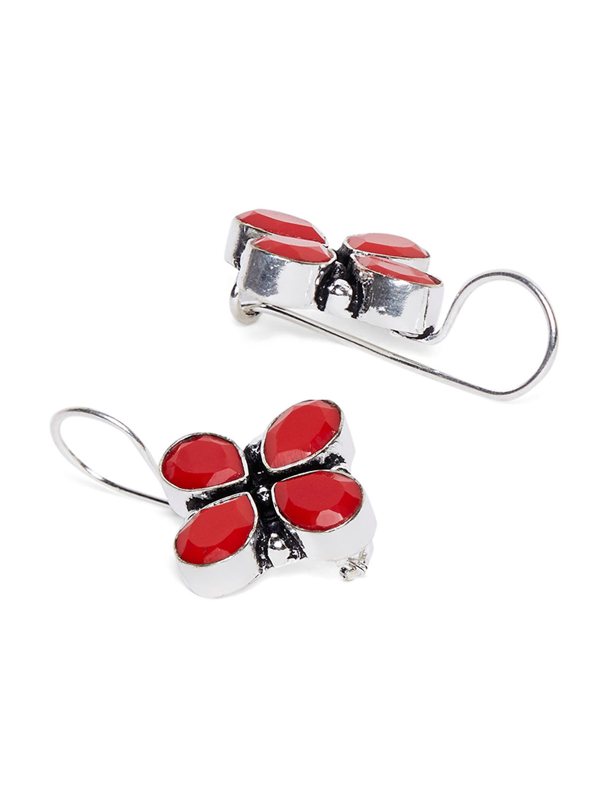 Imli Street flower beeded red jewellery earrings