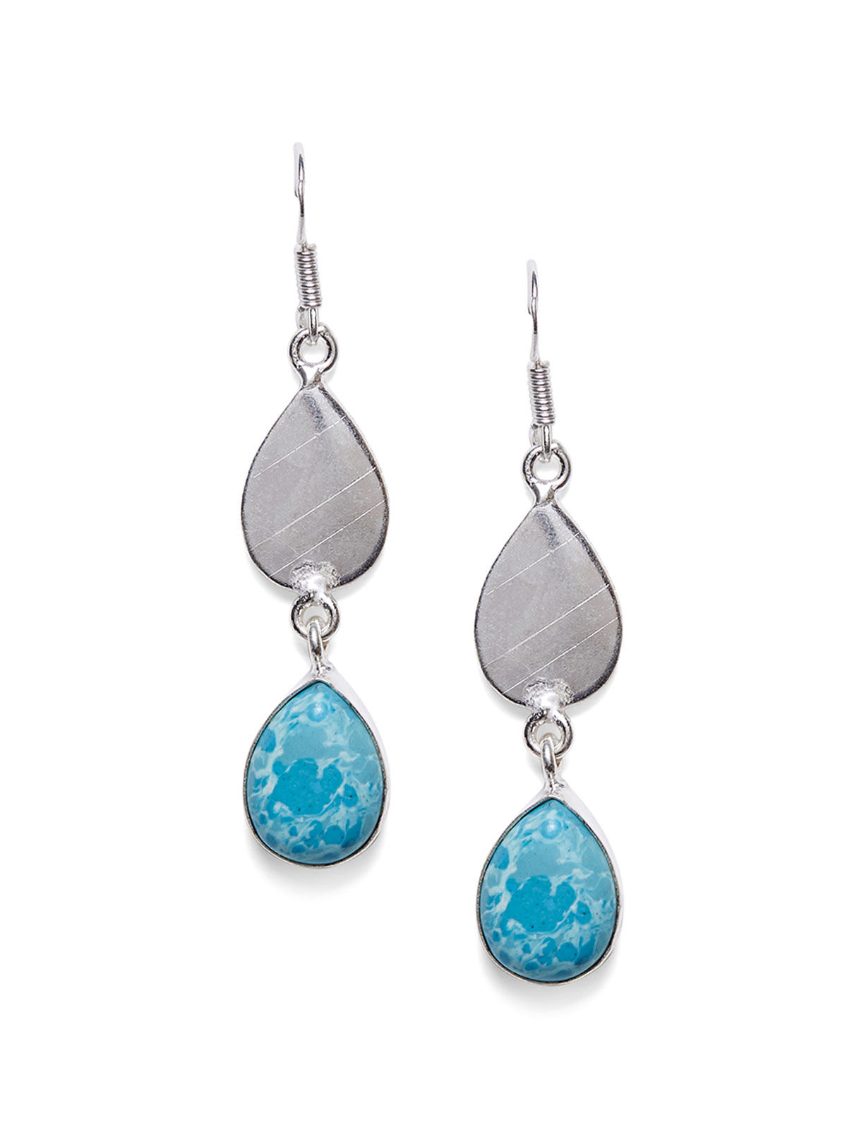Imli Street blue color silver tone brass earrings