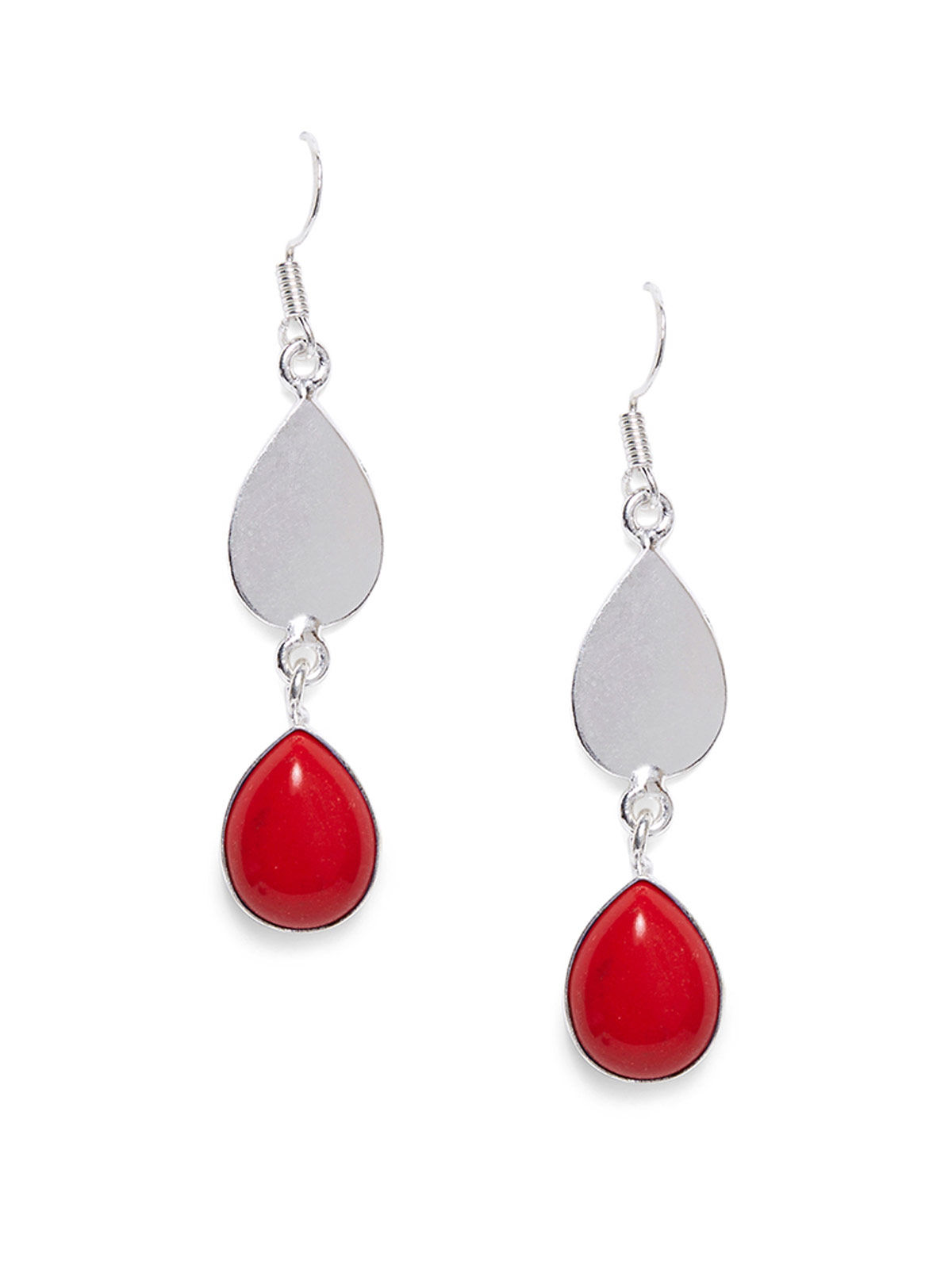 Imli Street red color silver tone brass earrings