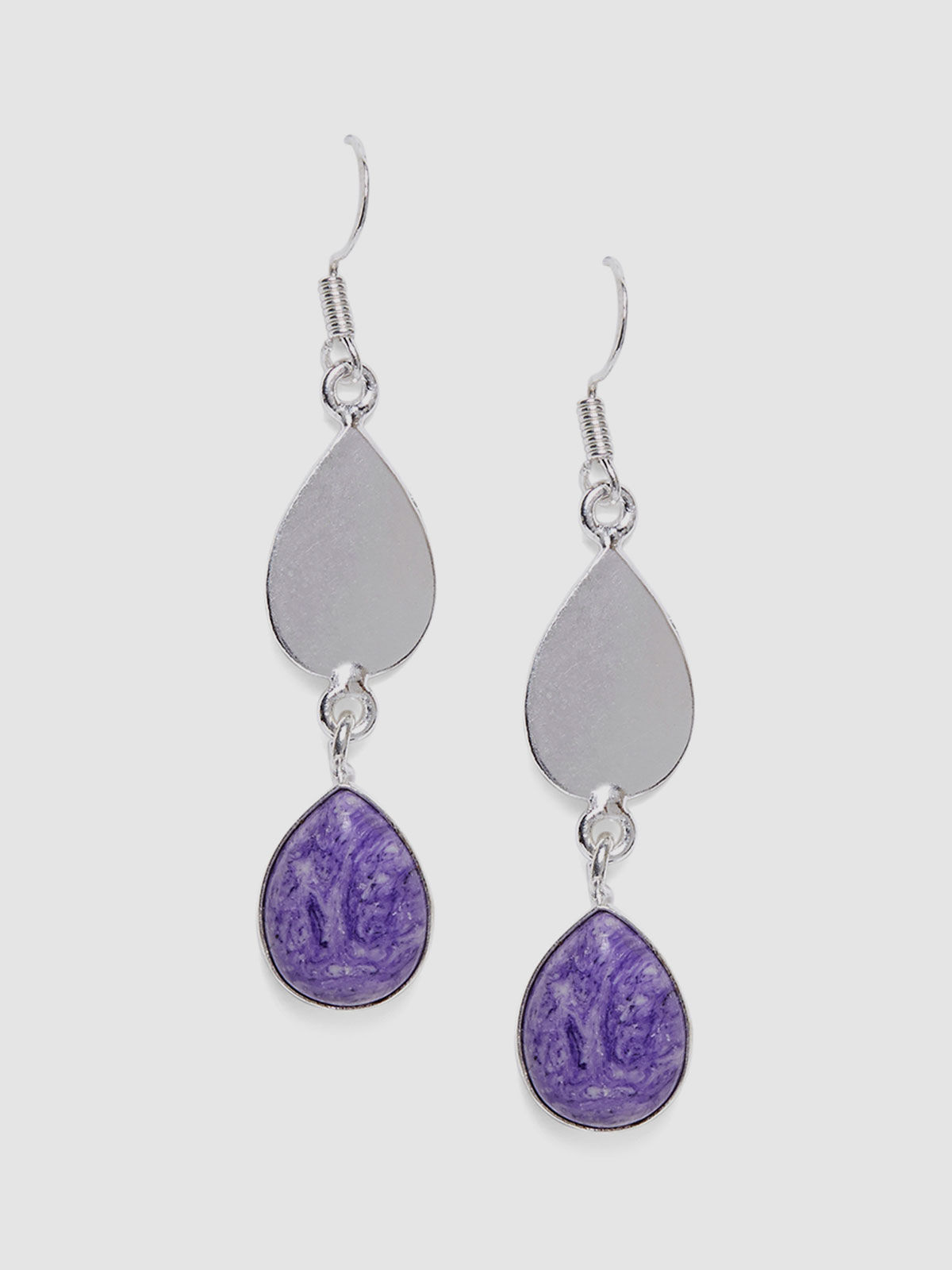 Imli Street purple color silver tone brass earrings
