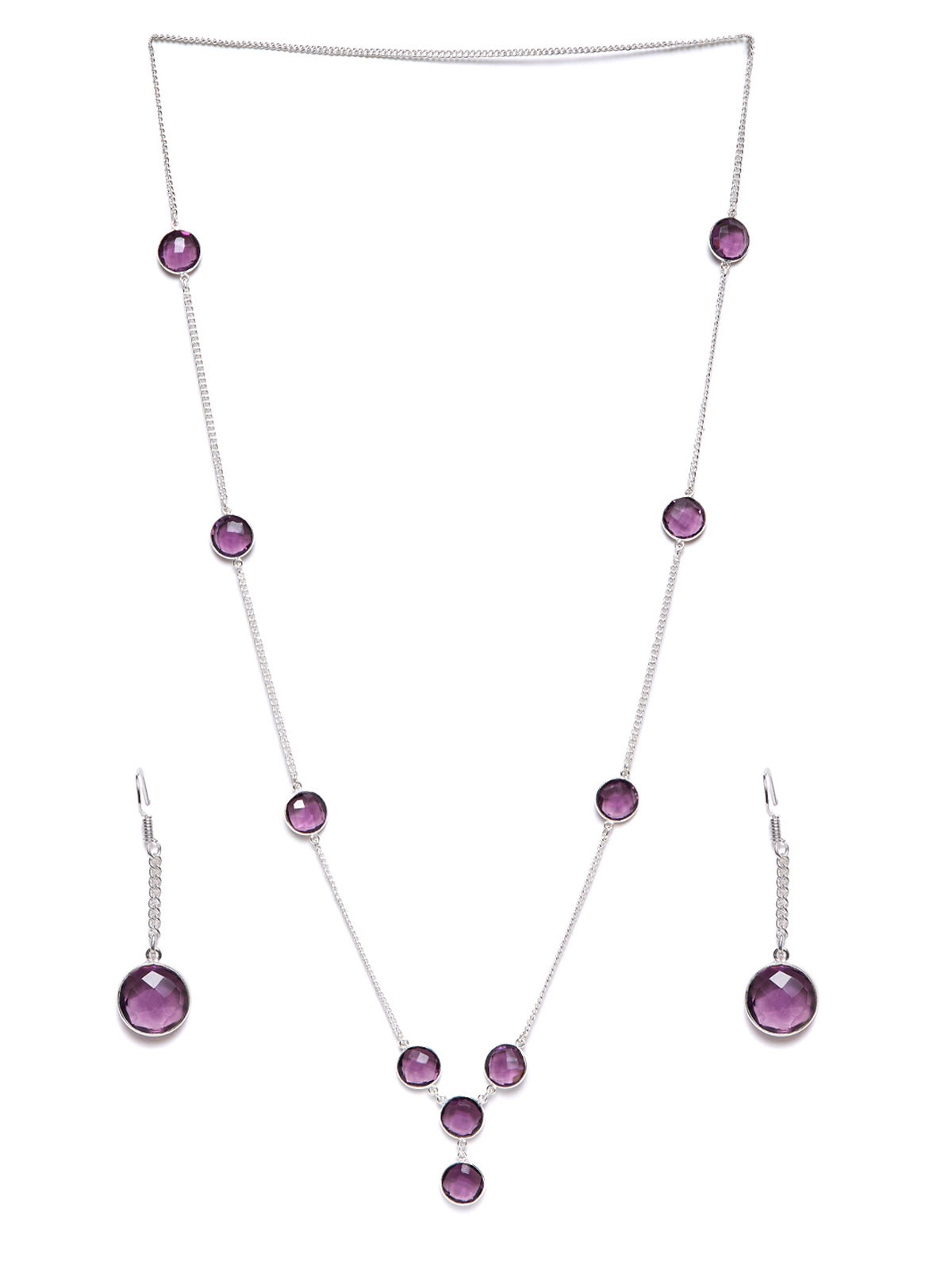 Imli Street purple silver tone brass neckpiece and earrings set