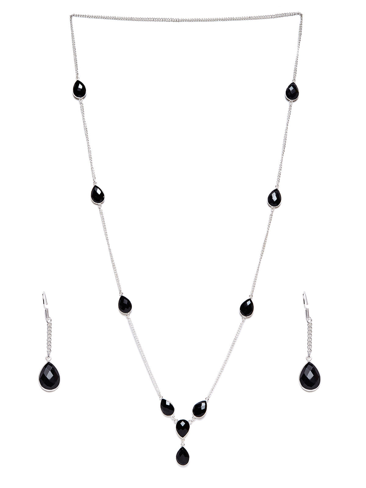 Imli Street black silver tone brass neckpiece and earrings set