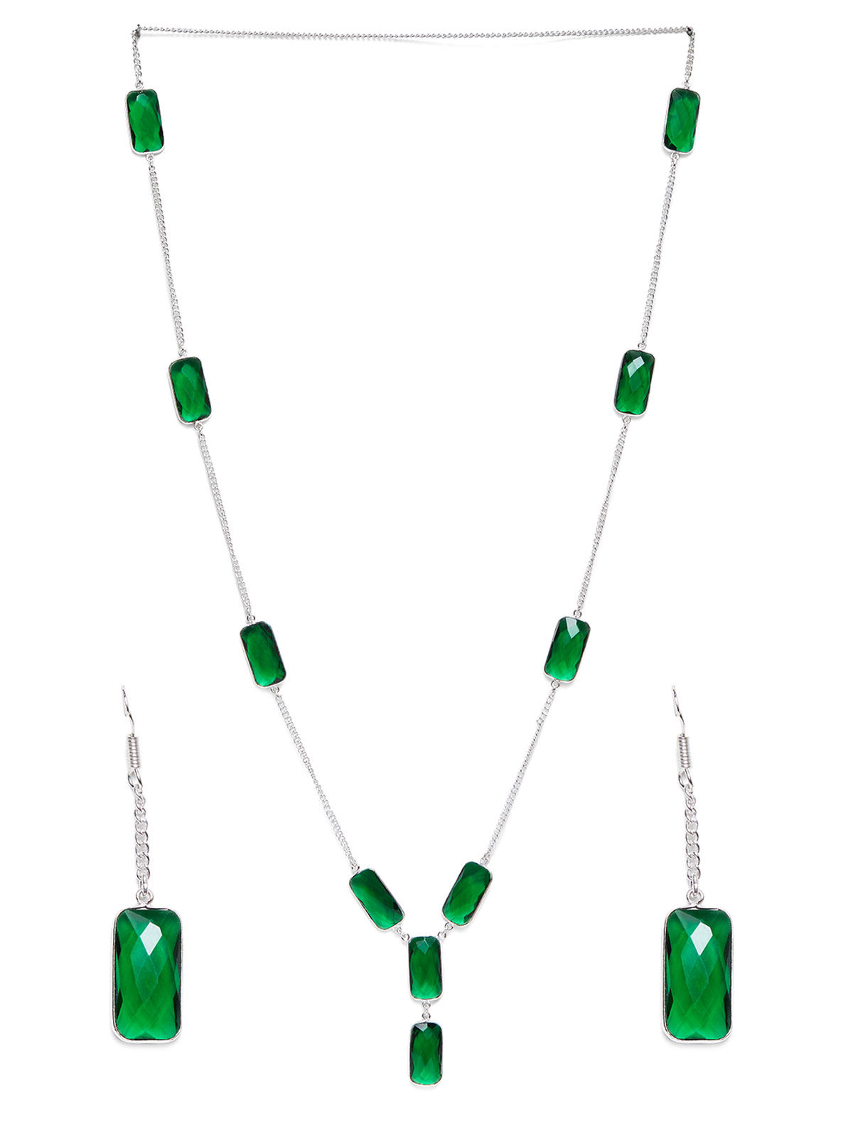 Imli Street green silver tone brass neckpiece and earrings set