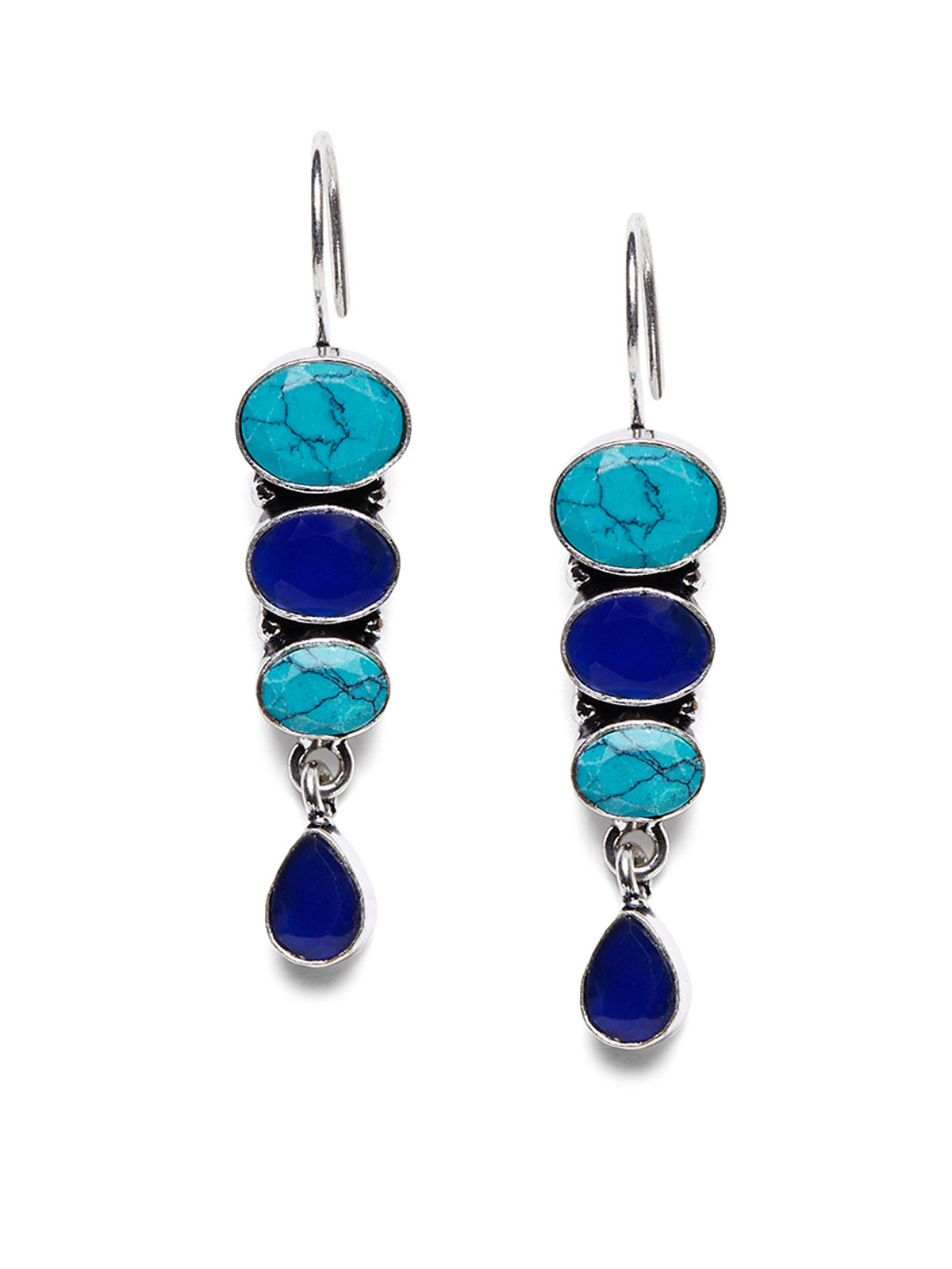 Imli Street blue color brass earrings set