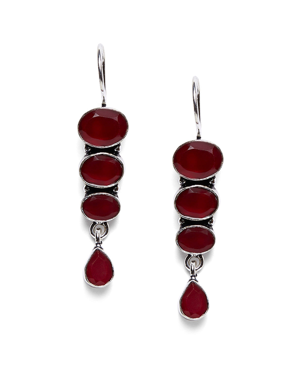 Imli Street maroon color brass earrings set