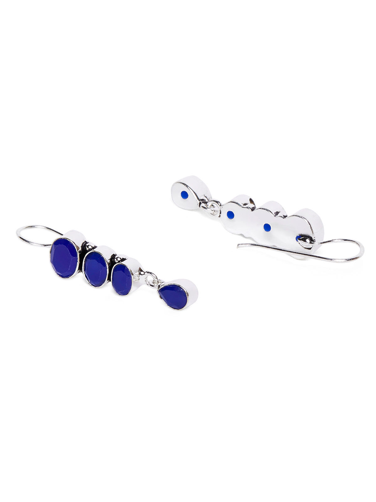 Imli Street dark blue color brass earrings set