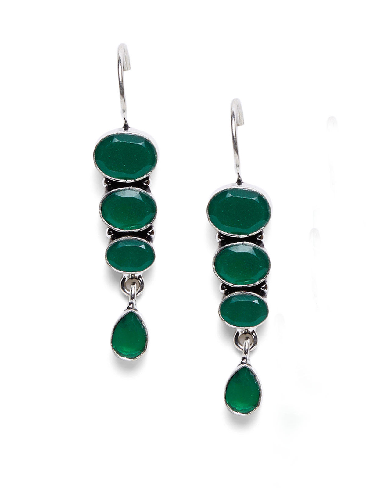 Imli Street dark green color brass earrings set