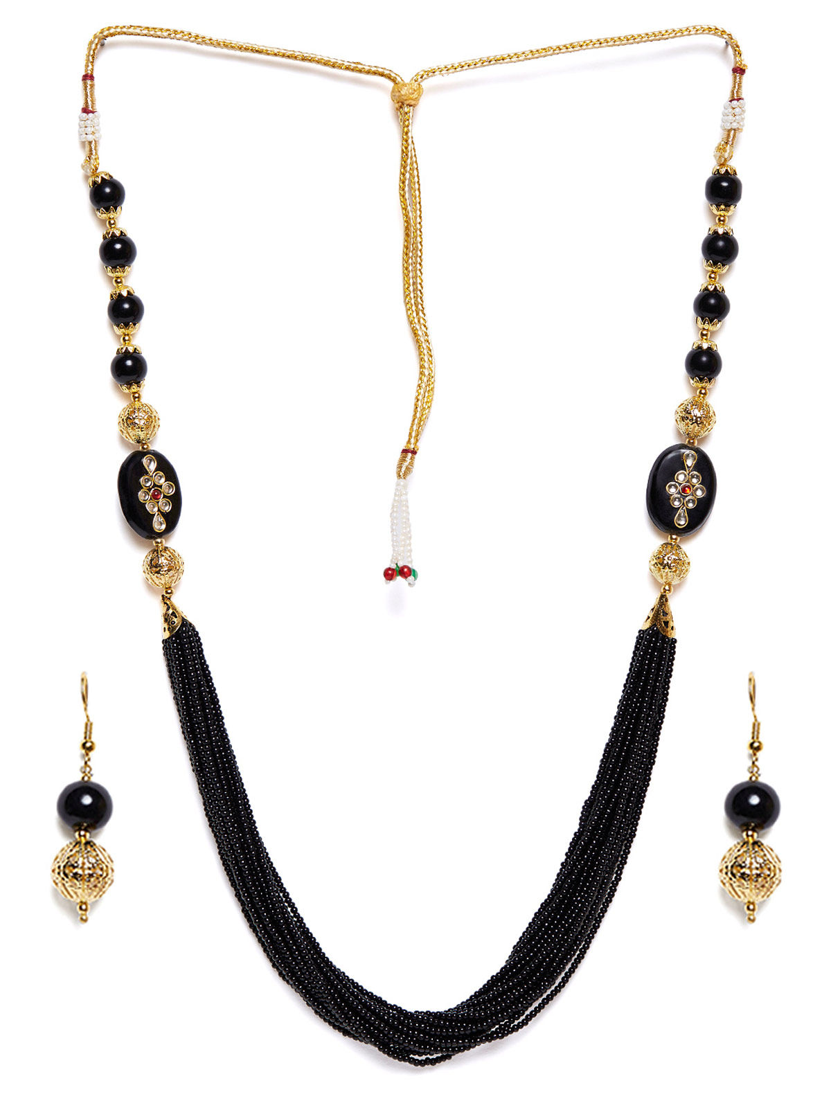 Imli Street black beaded neckpiece and earrings set