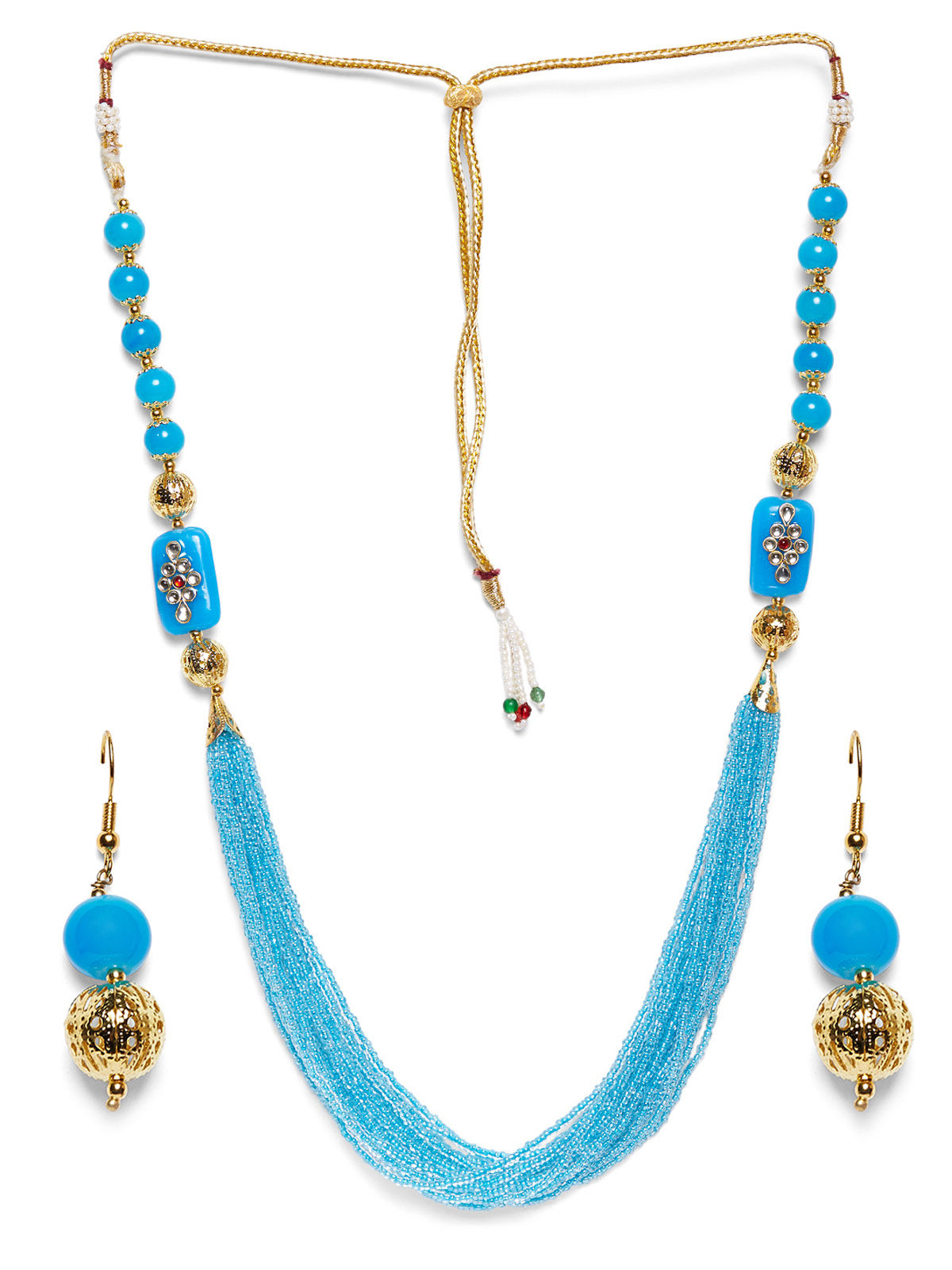 Imli Street blue beaded neckpiece and earrings set