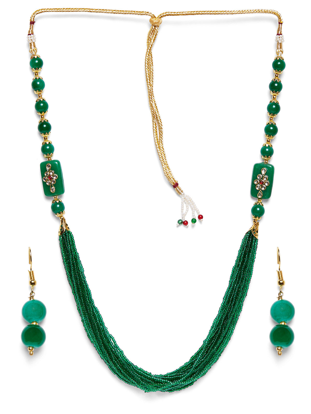 Imli Street green beaded neckpiece and earrings set