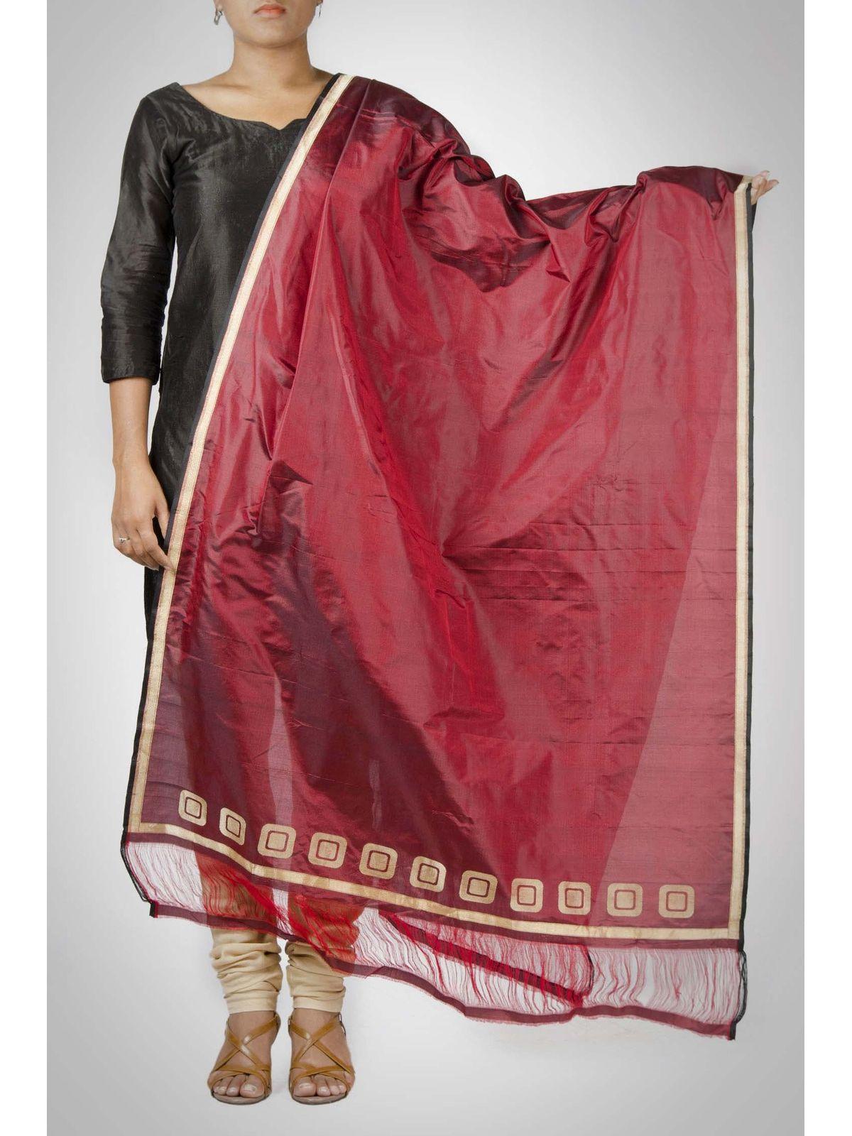 maroon handwoven pure silk zari dupatta