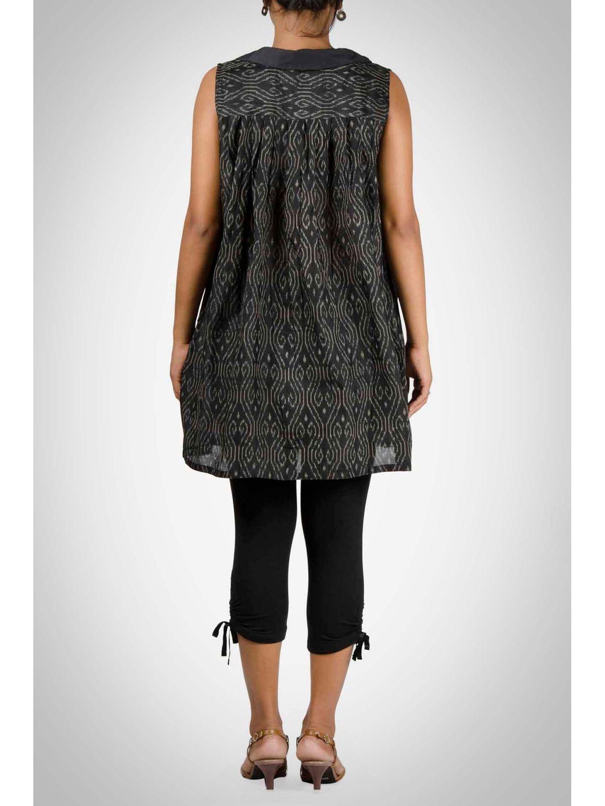Black Ikat Cotton Silk Tunic