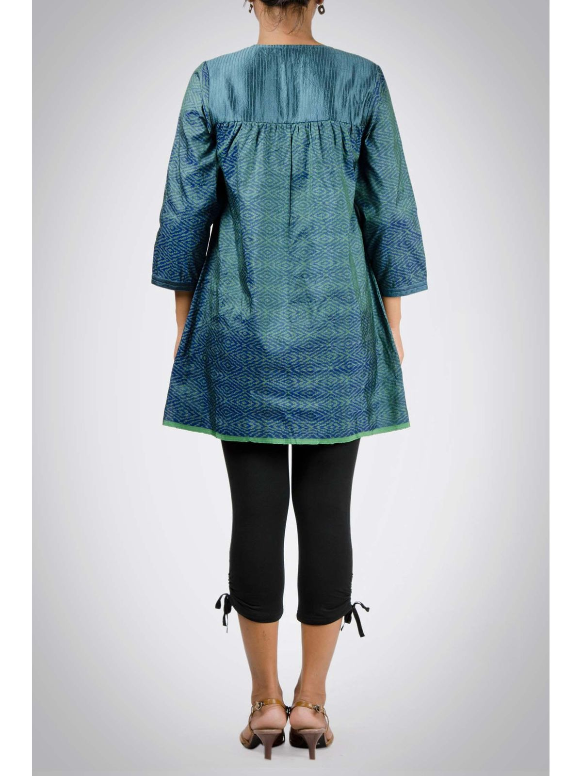 Green Ikat Silk Tunic