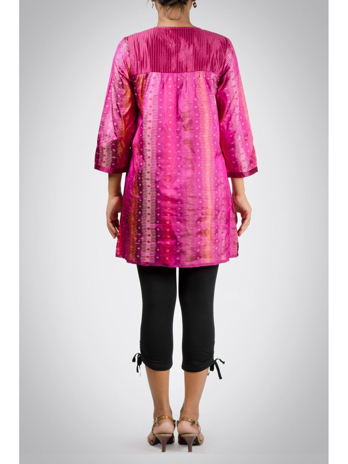 Pink Ikat Silk Tunic