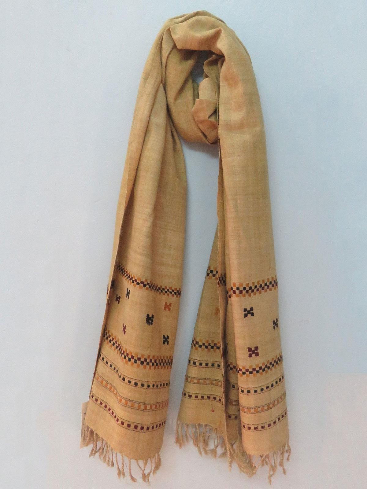 Handwoven mustard color eri silk stole