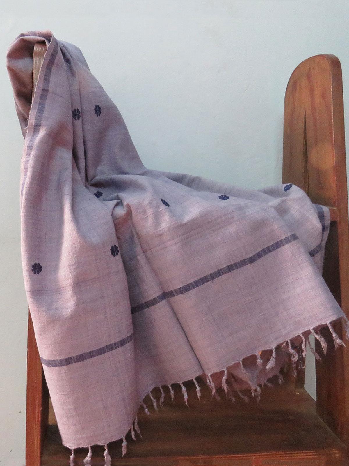 Handwoven Purple color eri silk stole