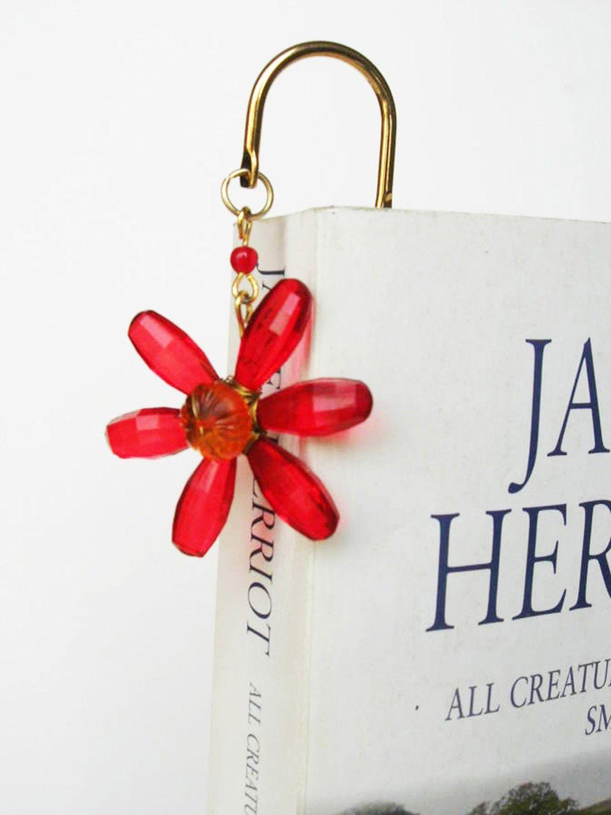 Elegant Brass Bookmark- Daisy Flower- Red