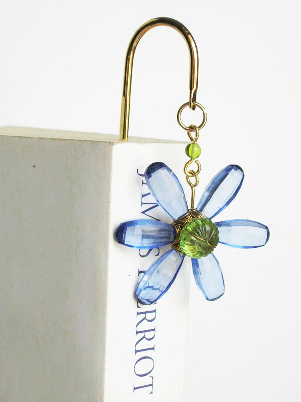 Elegant Brass Bookmark- Daisy Flower- Blue
