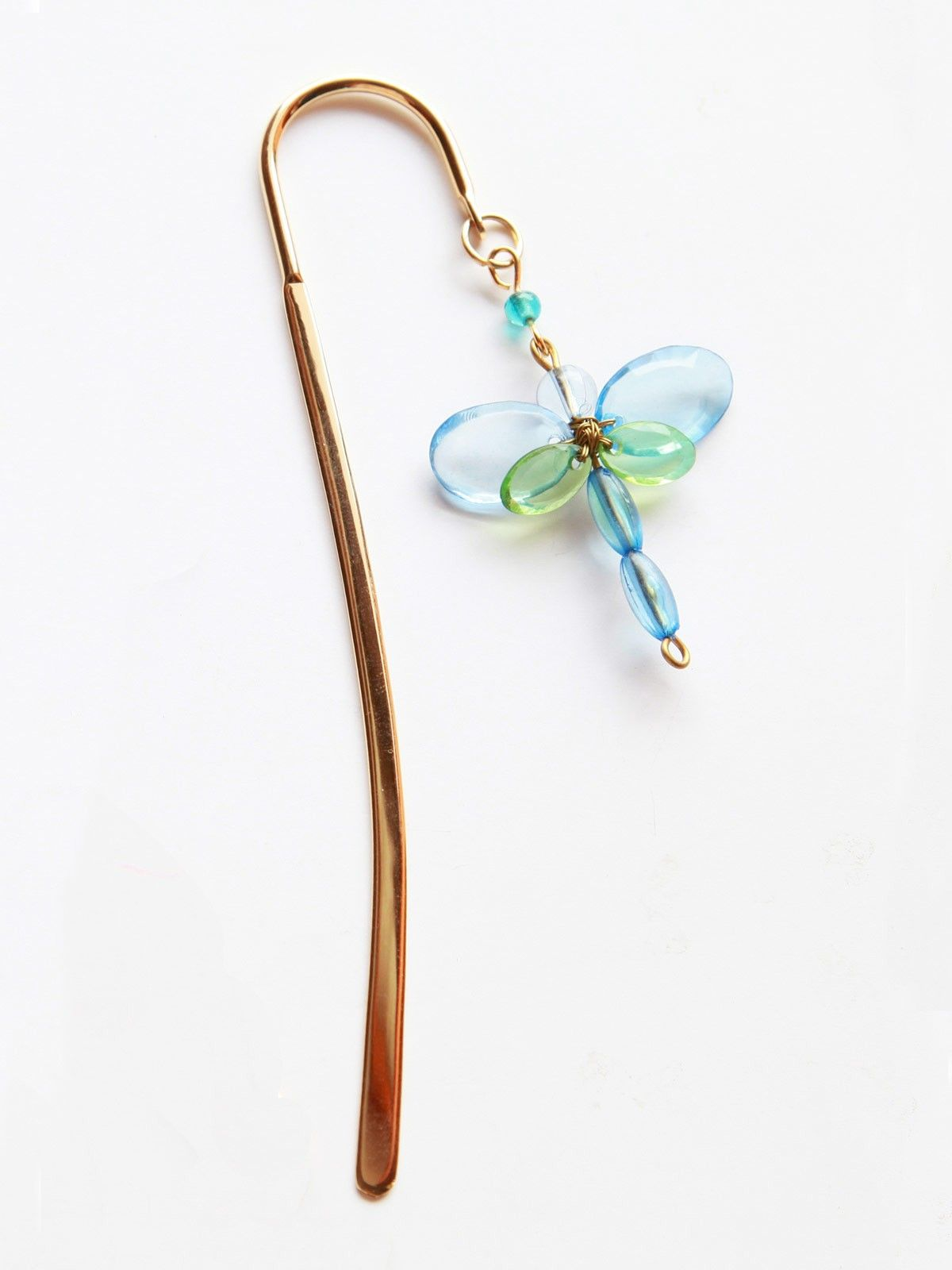 Elegant Brass Bookmark- Dragonfly Tiny- Blue