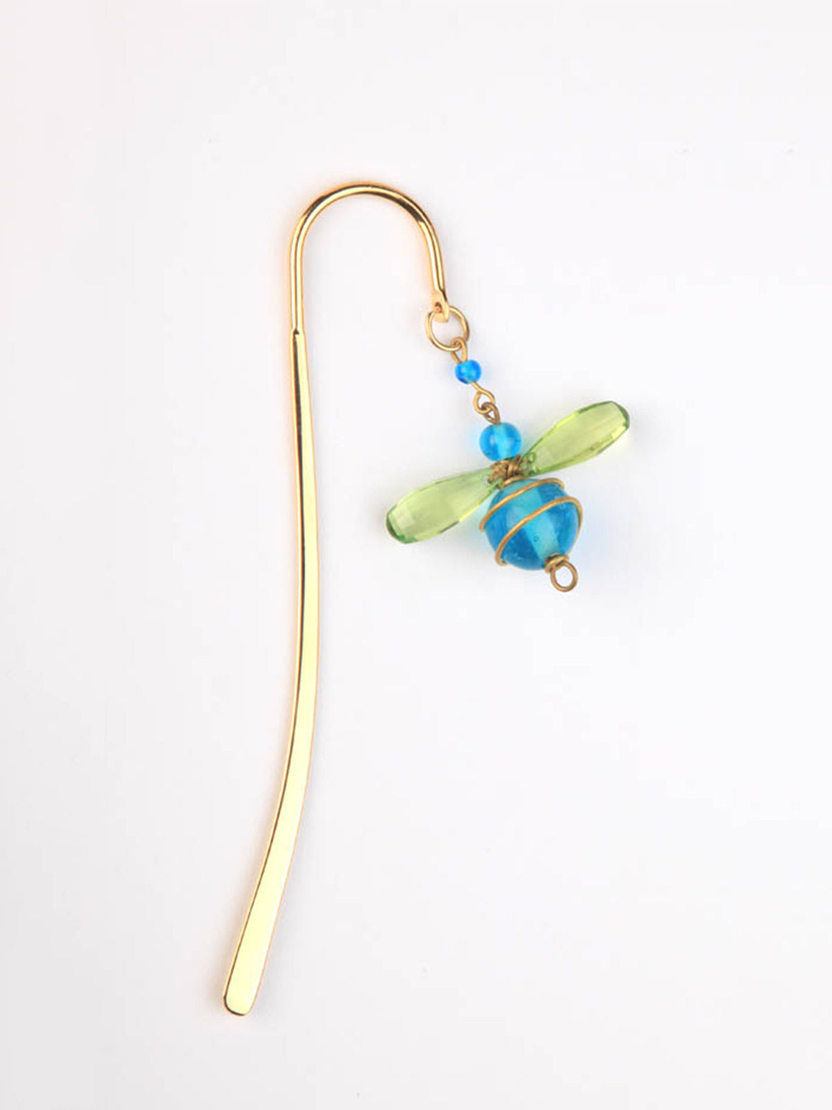 Elegant Brass Bookmark- Bumble Bee Mini- Blue