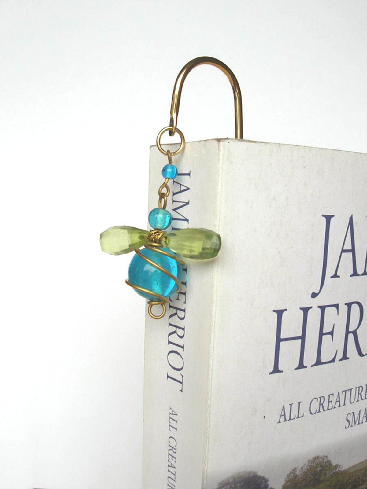 Elegant Brass Bookmark- Bumble Bee Mini- Blue