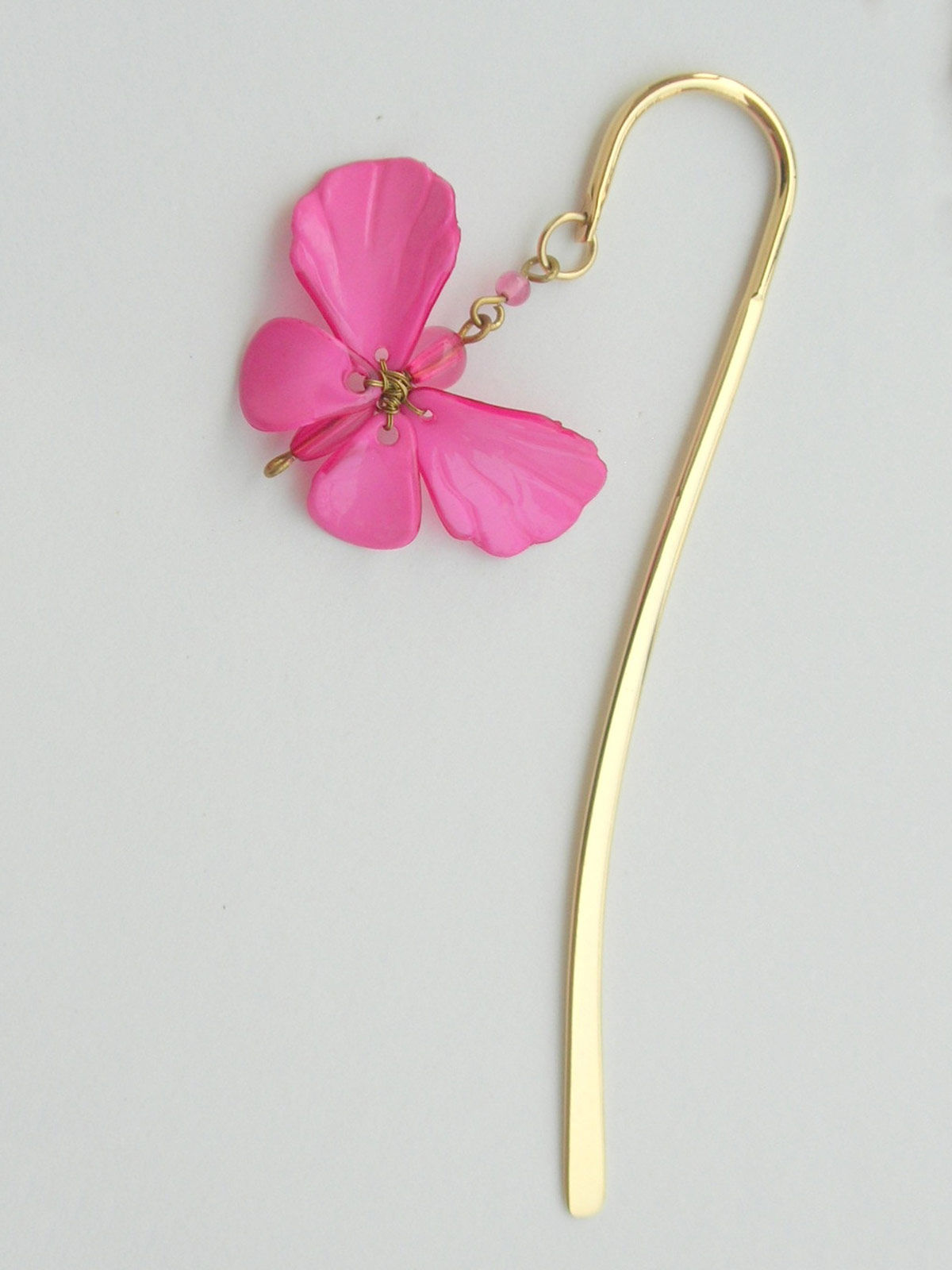 Elegant Brass Bookmark- Dainty Butterfly - Pink