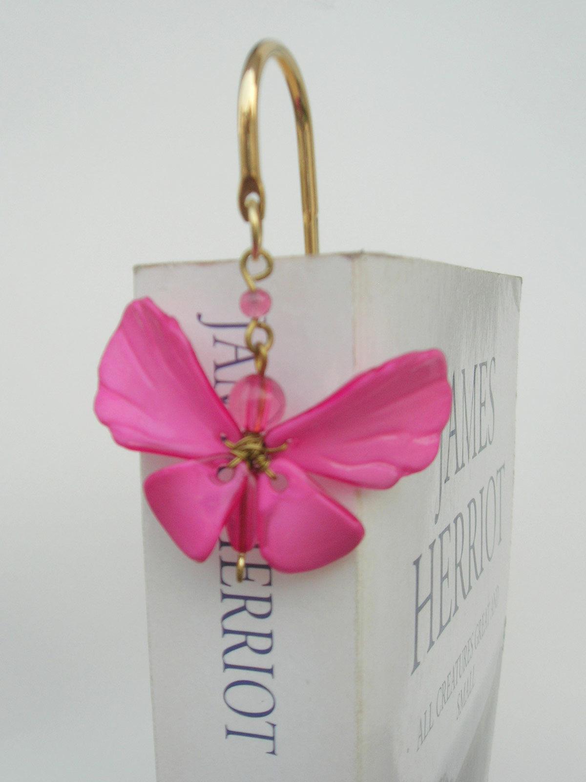 Elegant Brass Bookmark- Dainty Butterfly - Pink