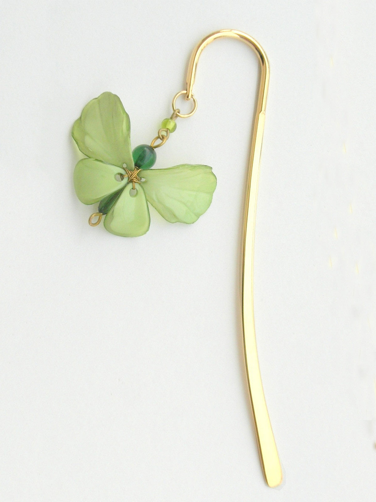 Elegant Brass Bookmark- Dainty Butterfly - Green