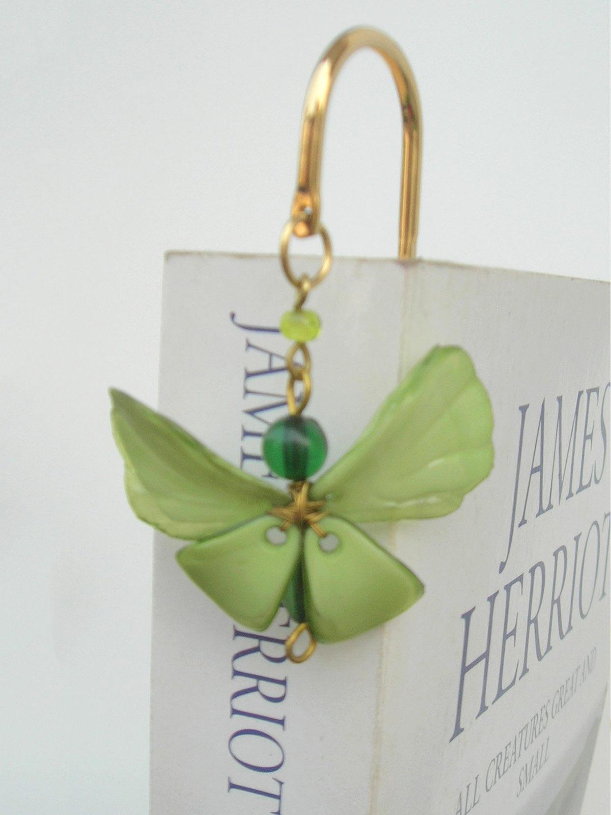 Elegant Brass Bookmark- Dainty Butterfly - Green