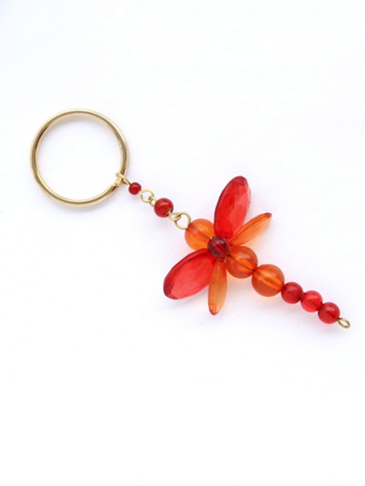 Dangling Keychain-Chunky Dragonfly  Red Orange