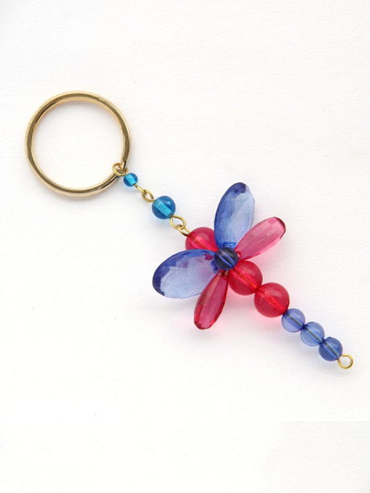 Dangling Keychain-Chunky Dragofly Blue Pink
