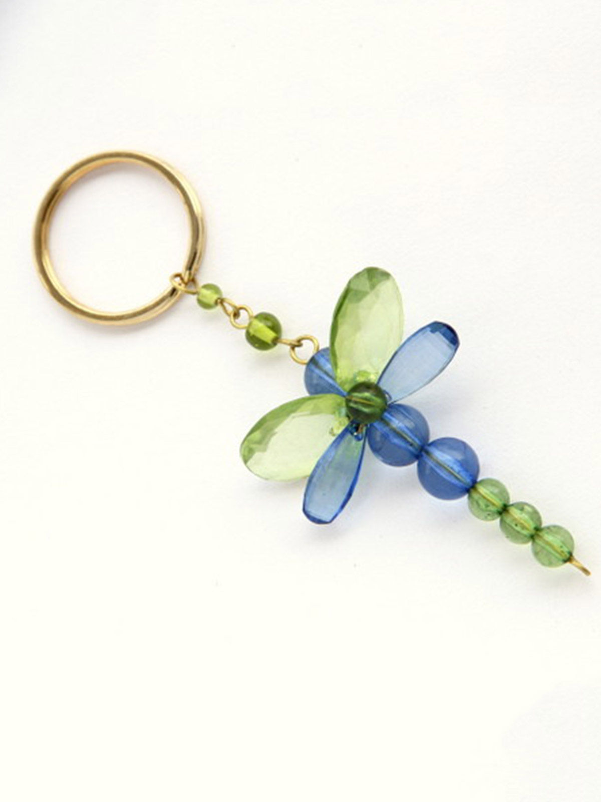 Dangling Keychain-Chunky Dragofly Green Blue