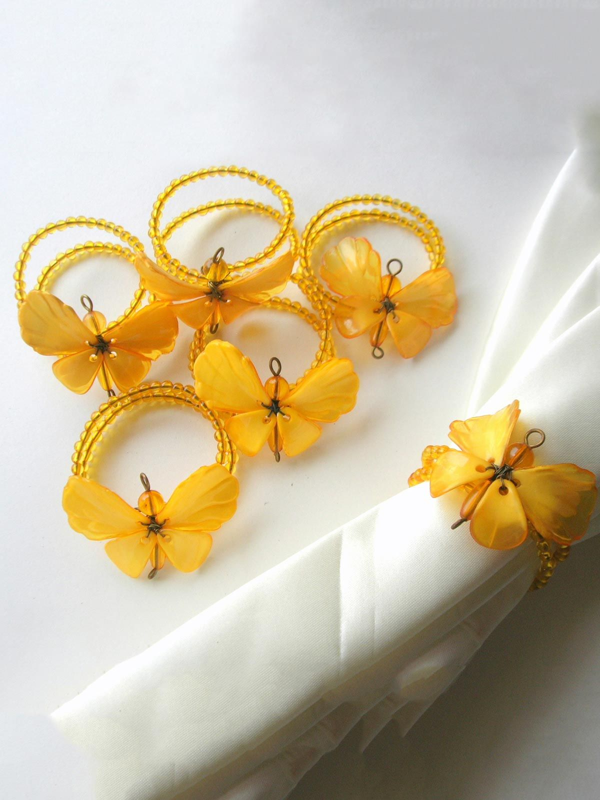 Dainty Butterfly Napkin Ring Yellow