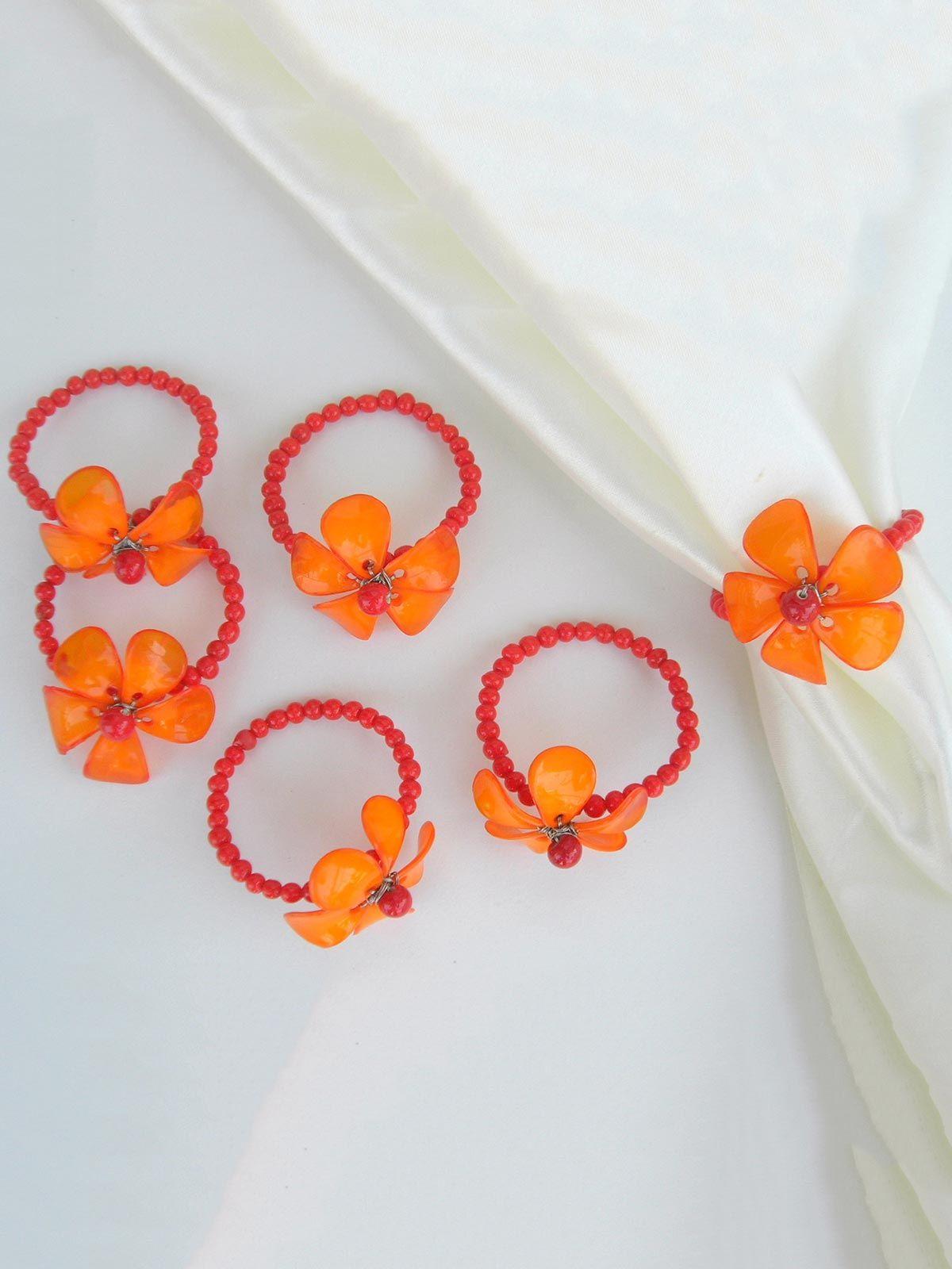 Dainty Flower Napkin Ring Orange