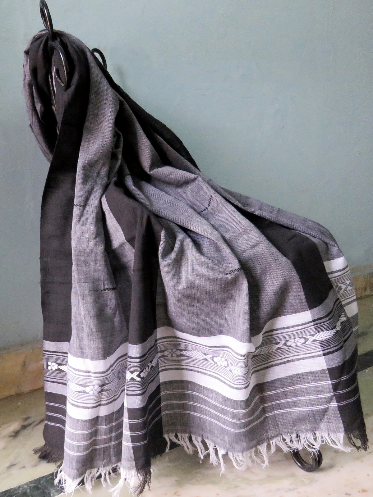 Black and grey cotton dupatta with white detailings