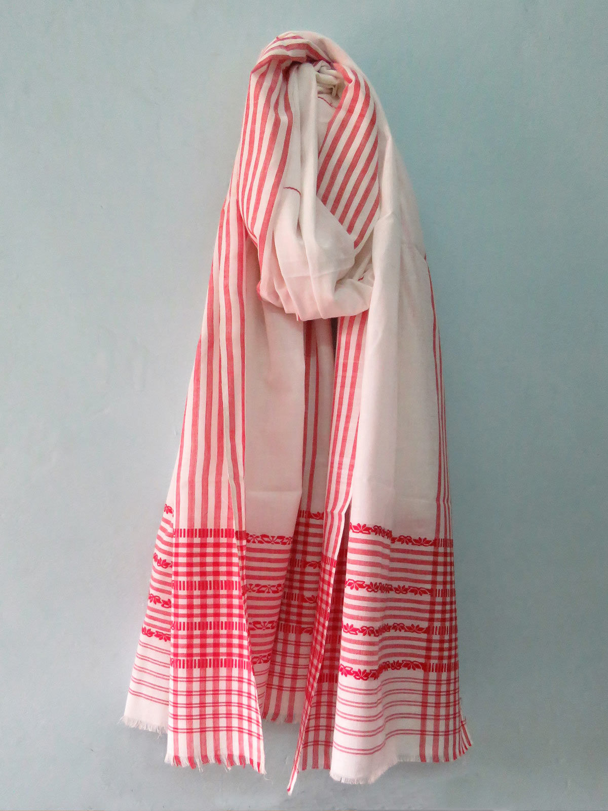 White and red cotton Dupatta