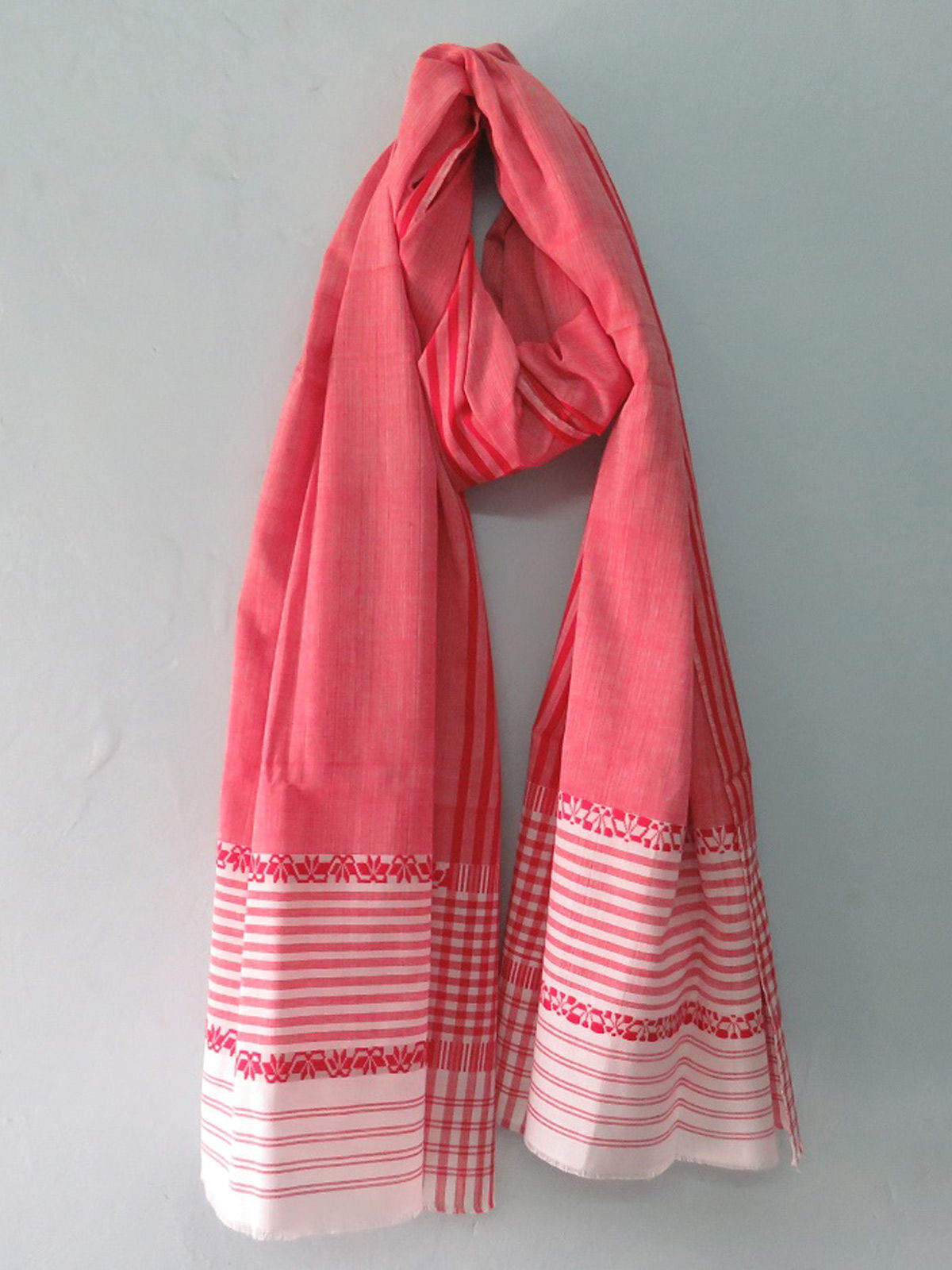 Red cotton dupatta with white border