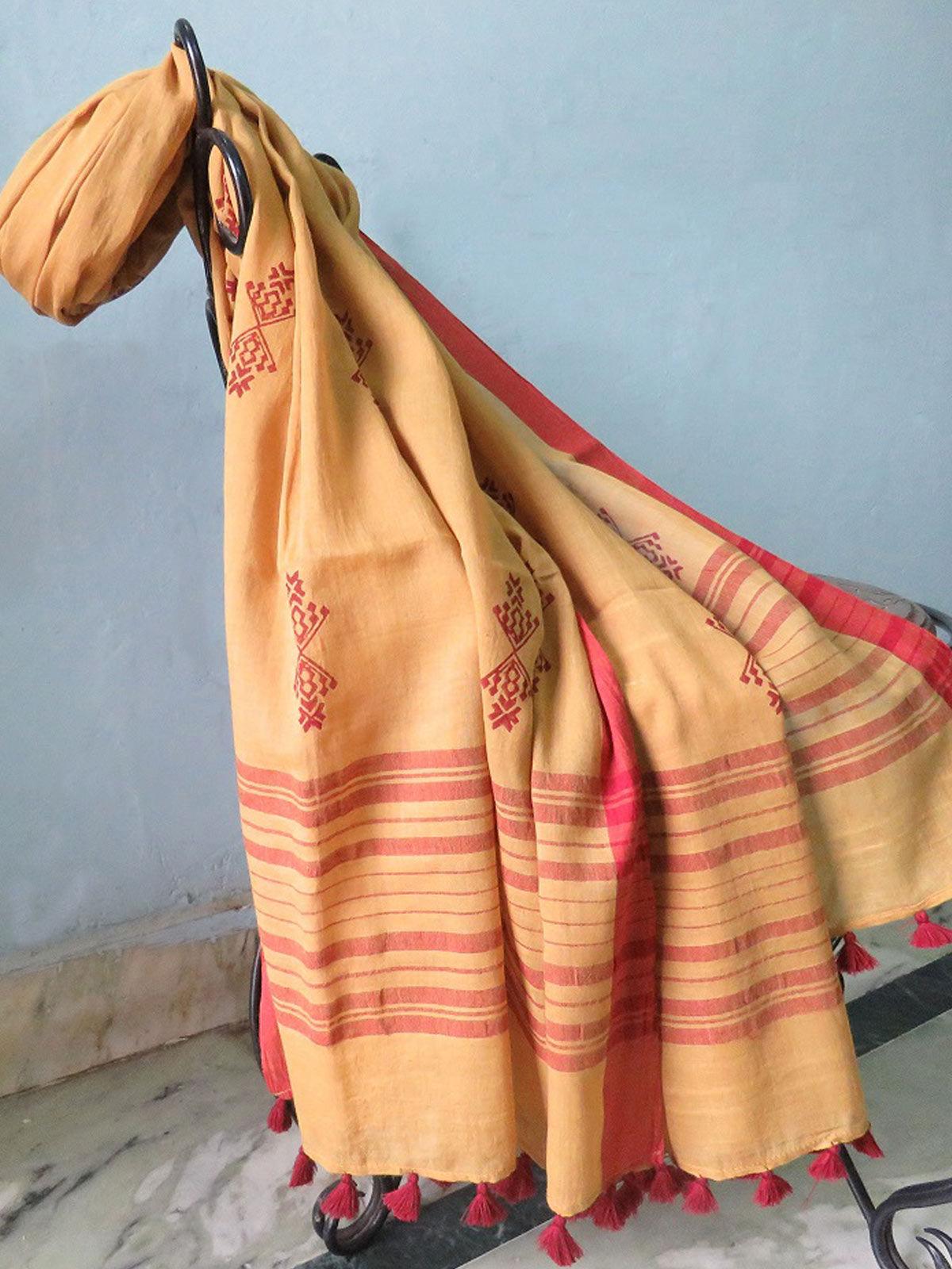 Yellow Block printed cotton Dupatta