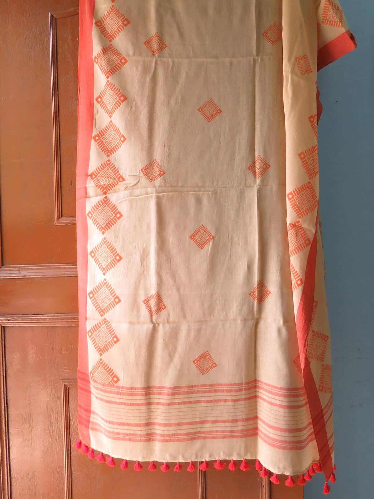 Yellow Hand block printed cotton dupatta