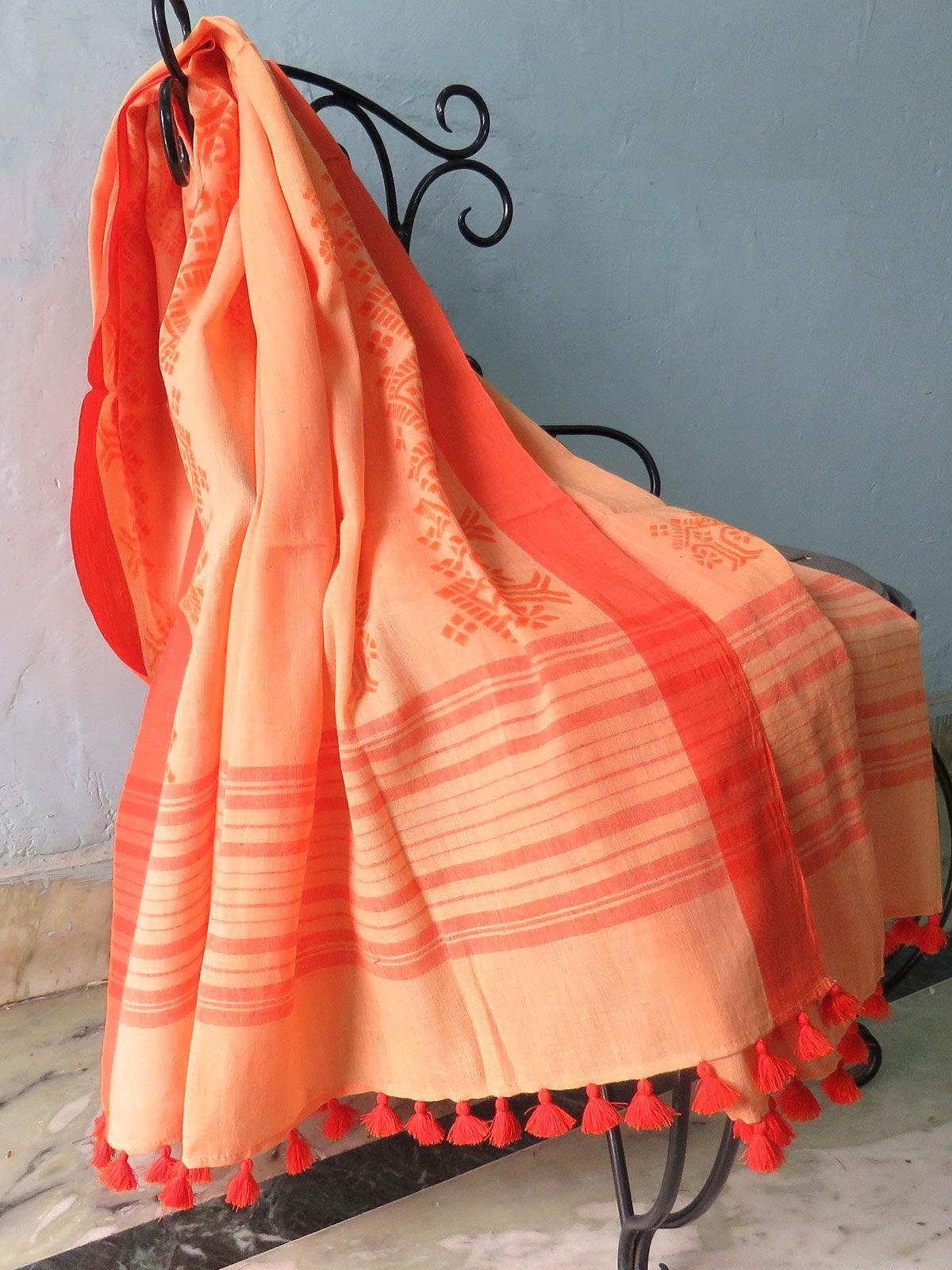 Orange Hand block printed cotton dupatta