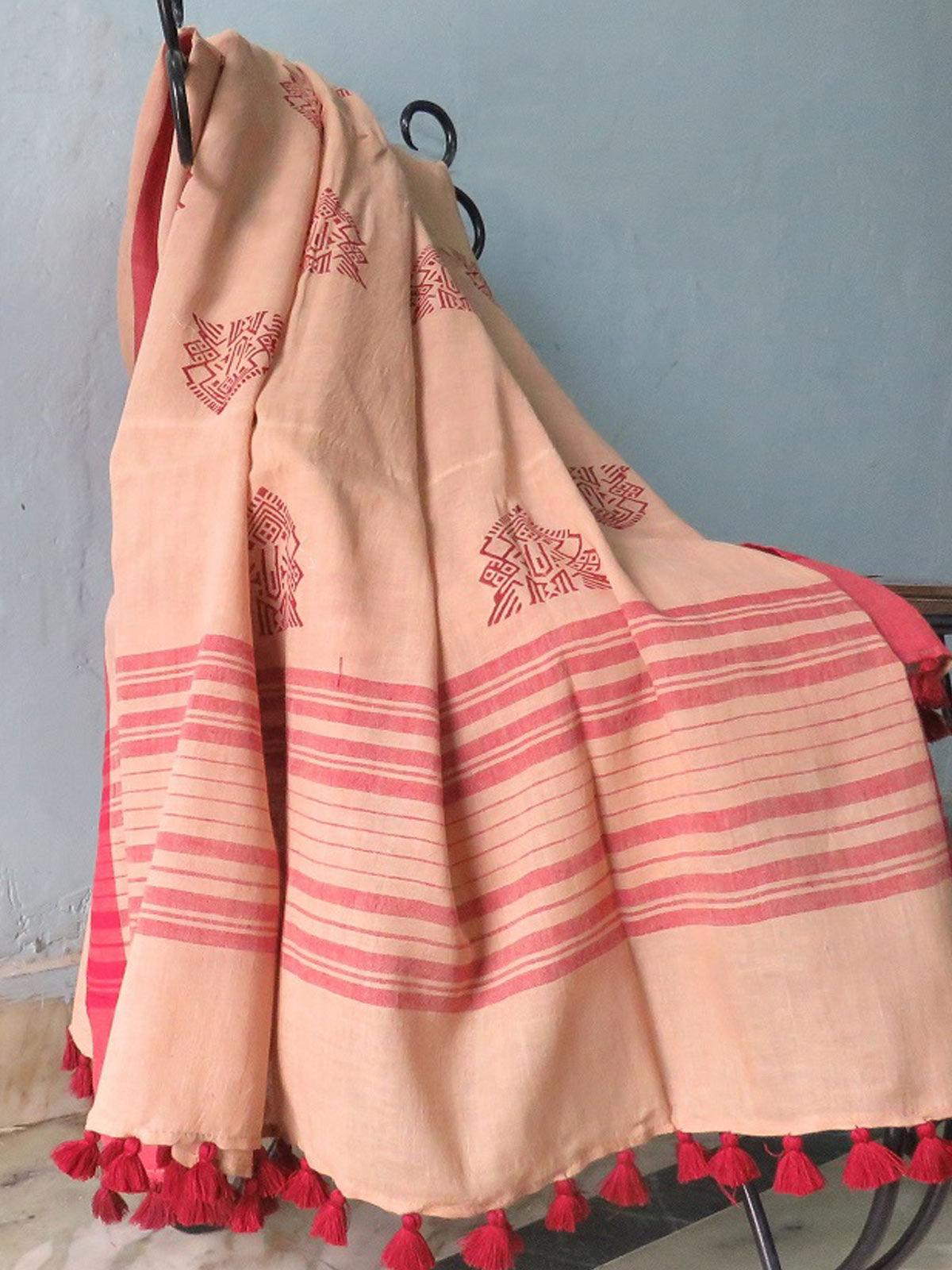 Beige Hand block printed cotton dupatta