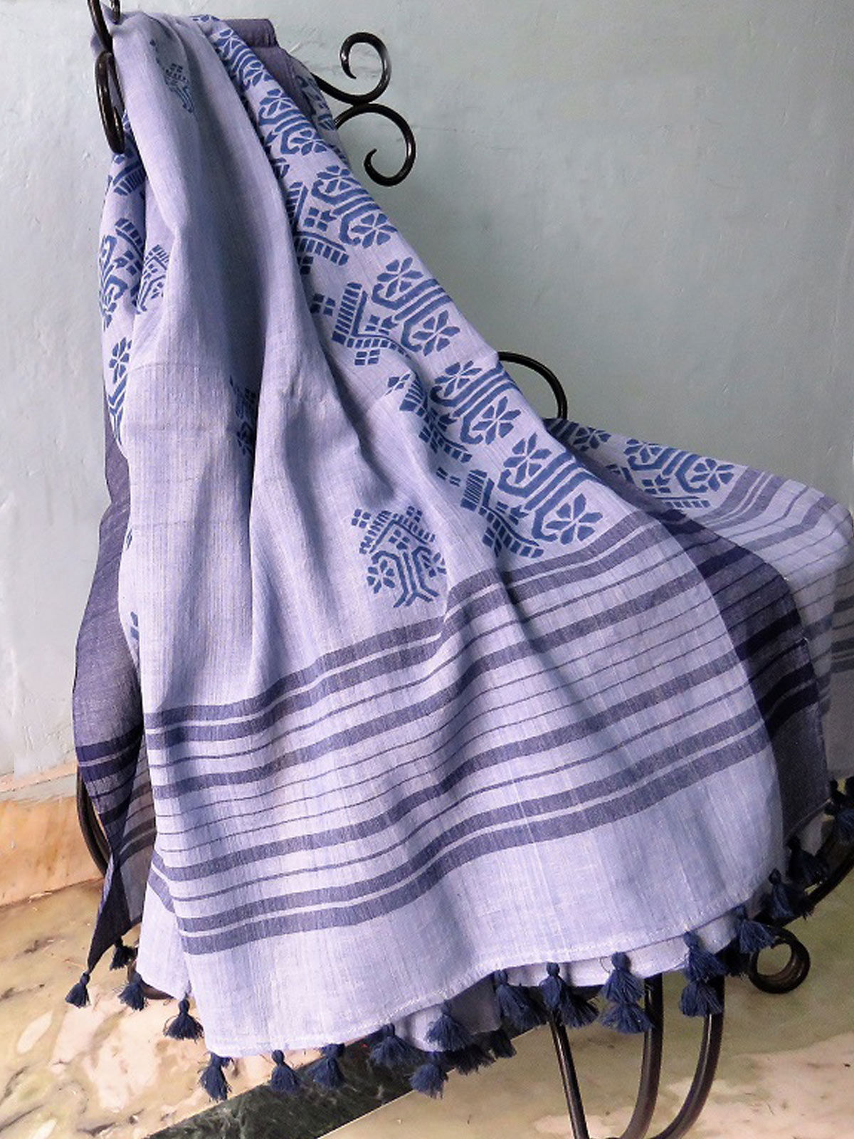 Purple Hand block printed cotton dupatta
